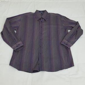 Alan Flusser Casual Shirt Mens Large Purple Stripe
